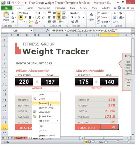 group weight tracker template  excel