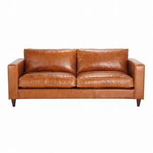 canape vintage 3 places en cuir marron henry maisons du With tapis exterieur avec canapé cuir taupe 3 places