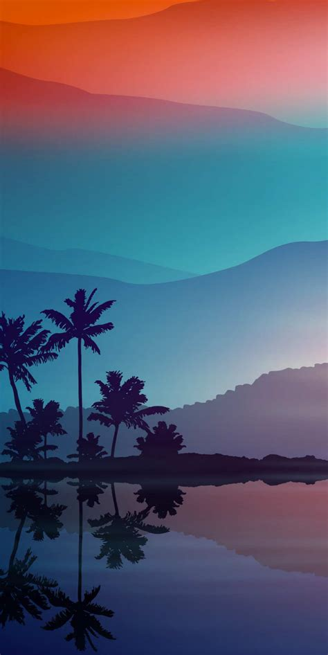 sunset minimal nature palm trees iphone wallpaper iphone