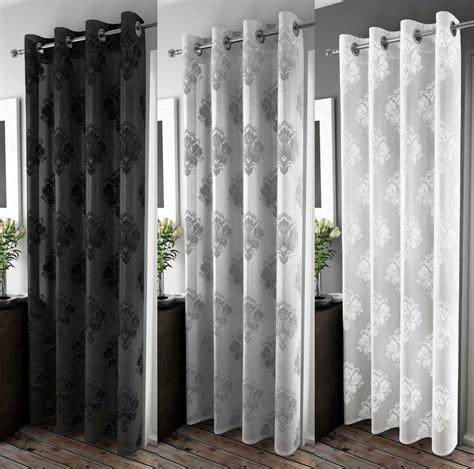 Ring Top Drapery - anika velvet damask design voile curtain panel eyelet