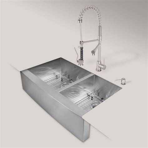 Apron Front Sink Home Depot Canada by Vigo All In One Farmhouse Apron Front Stainless Steel 36