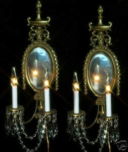 Candle Wall Sconces With Mirror - 2 vintage bronze brass mirror wall sconces