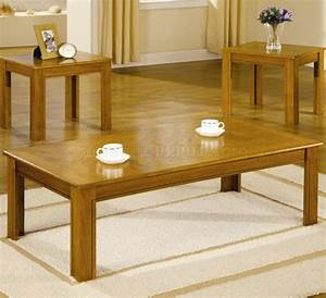 Oak finish modern 3pc coffee table set w parquet tops for Cheap oak coffee table