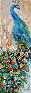 Original oil painting impasto PEACOCK decorative ...