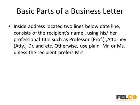 address basic letter with userform lesson 2 business letters parts and formats ppt download