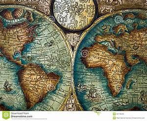 Cordoban Leatherwork Style. Antique World Map Editorial ...