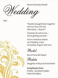 indian wedding invitation gangcraftnet With wedding invitation quotes hindu marriages