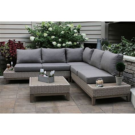 In a rainy region, resin furniture holds up well and comes in multiple designs to match any style. Outdoor Interiors® Eucalyptus Patio Furniture Collection | Bed Bath & Beyond