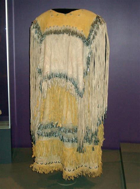 nmaiwomans buckskin dress yellow fringe identity