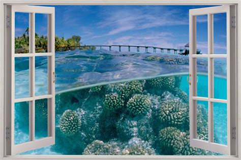 3d Window Ocean View Blue Sea Home Decor Wall Sticker: 3D Under The Sea Wallpaper
