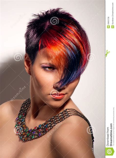 Portrait Of A Beautiful Girl With Dyed Hair Stock Photo