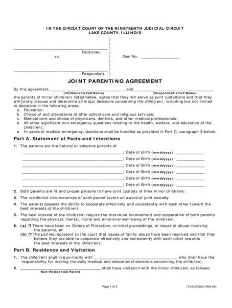 custody agreement template template business