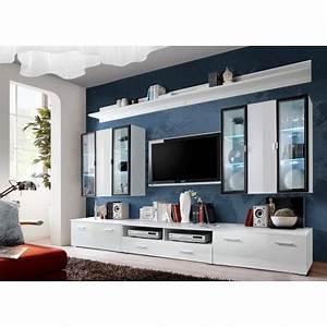 Meuble Avec Vitrine : meuble tv avec vitrine murale et clairage led iceland cbc meubles ~ Teatrodelosmanantiales.com Idées de Décoration