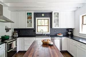 Sumptuous penny backsplash technique other metro for Kitchen designs with white cabinets and black countertops