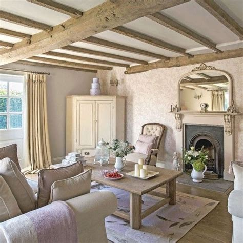 regency country cottage living room  exposed beams