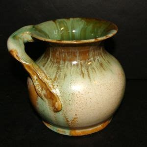 australian pottery vase  remued  green  cream drip