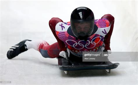Martins Dukurs of Latvia ends a run during the Men's ...