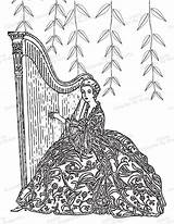 Harp Coloring Lady Adult Printable Pages Etsy Fairy Clip sketch template