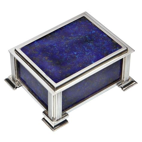 decorative boxes blue lapis silver art deco box