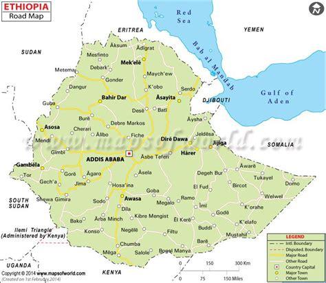ethiopia road map places  visit assosa map ethiopia
