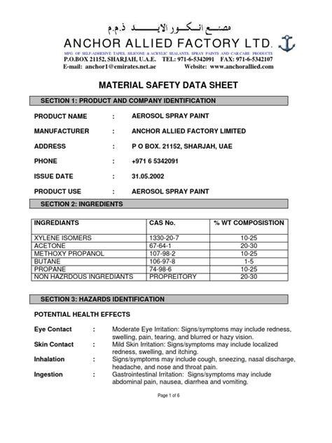 Aerosol Paint Msds  Personal Protective Equipment