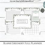 Blank Planner Greenery Weekly Watercolor Monthly Daily