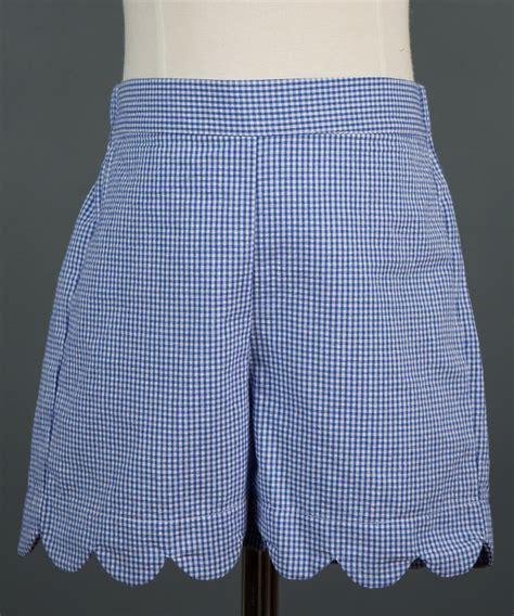 Gingham Shorts blue gingham scalloped shorts childrens clothing