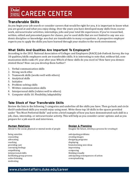 Transferable Skills Resume by Transferable Skills