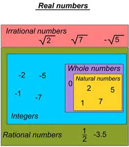 Types of Real Numbers Chart