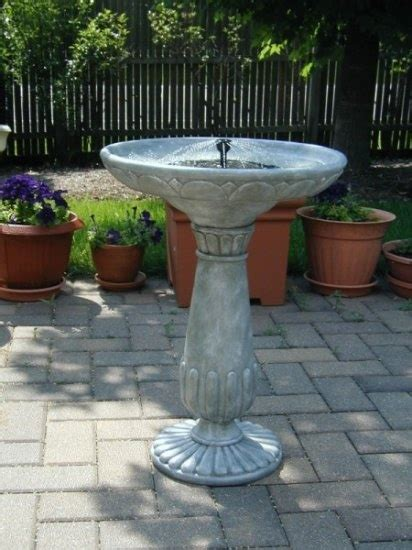solar birdbath weathered stone click image to close