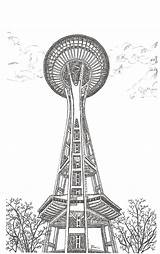 Needle Space Seattle Coloring Sketch Template Silhouette Postcards sketch template