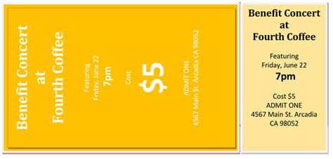 event ticket templates  word  adobe