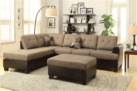 brown sectional with ottoman poundex moss f7603 brown leather sectional sofa and