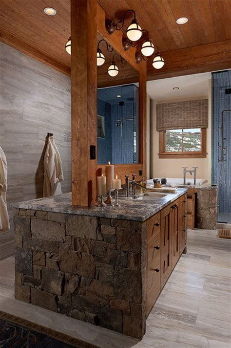 Modern Rustic Bathroom  Bathroom Vanity Lighting By