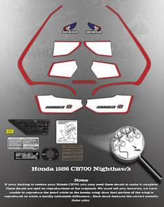 Honda 1986 Cb700 Cb700sc Tank Cover Decal Graphic Set