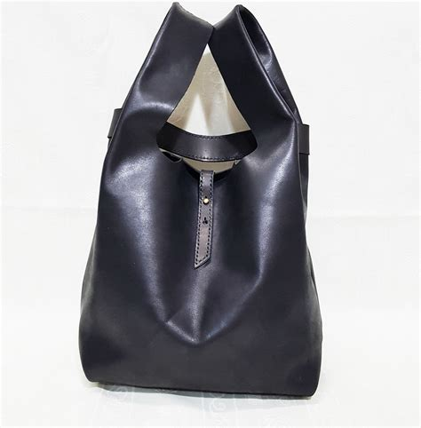 waxed canvas tote bag stitched cow leather singlet shopper bag kinies