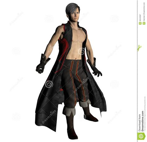 Fighter With Anime And Style Isolated On Black Background Asian Warrior Royalty Free Stock Photography