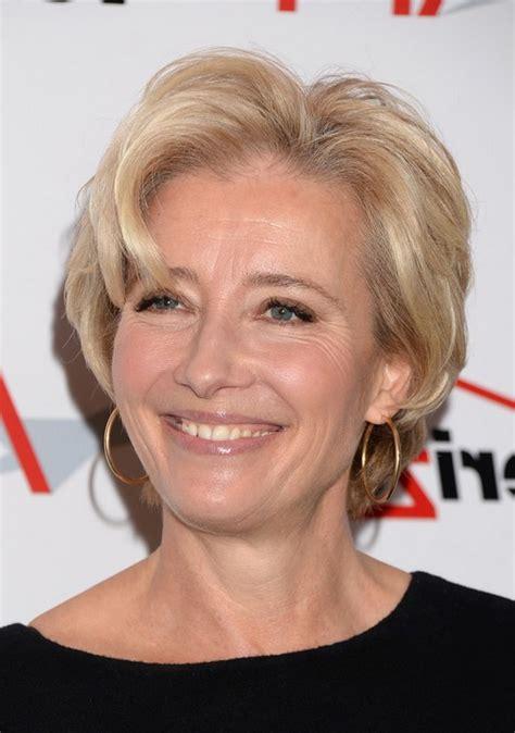 emma thompson short wavy haircut for women over 50
