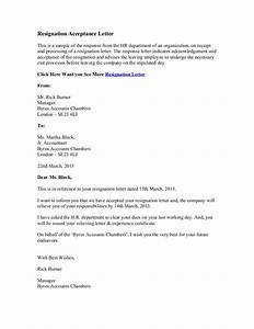 Resignation Letter Accepting Resignation Letter From Employee Formats resignation letter