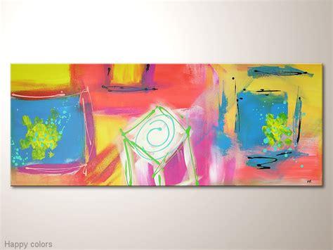 Wandbilder Für Büro by Abstraktes Buntes Leinwandbild Happy Colors In 100 X 40