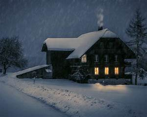 Wallpaper Wood House Lights Snow Winter Night