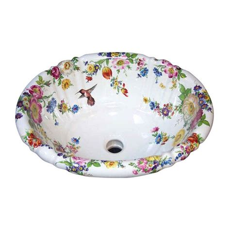 hand painted bathroom sinks scented garden and hummingbird painted sink