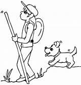 Hiking Coloring Drawings Hiker Hike Sketch Sketches Template sketch template
