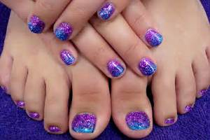 Pics photos purple glitter finger toe nail art design combo