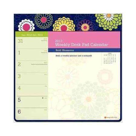 Bold Blossoms 2013 Weekly Desk Pad Calendar Walmart