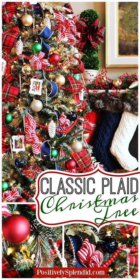 traditional plaid christmas tree decorations  holiday