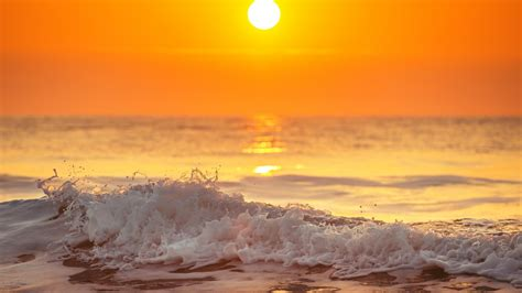 wallpaper sunrise morning ocean beach waves hd