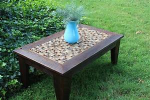Hand made coffee table glass stone tile mosaic for Rustic dark brown coffee table