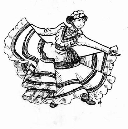 Coloring Dancer Pages Mexican Flamenco Dancing Dancers