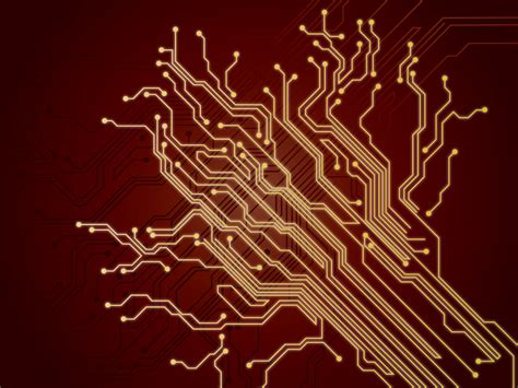 Cool Black And Red Background Chip Wires Backgrounds 3d Black Colors Red Technology Templates Free Ppt Backgrounds And